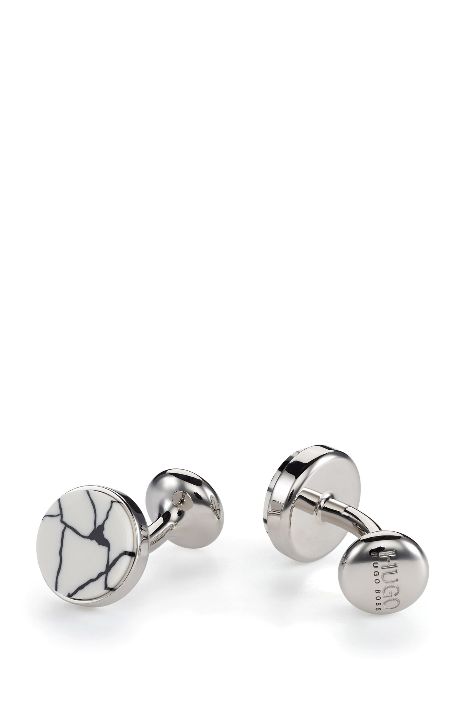 Runde Manschettenknöpfe aus Messing mit marmoriertem Emaille-Einsatz