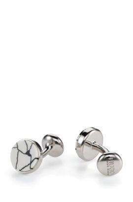 Runde Manschettenknöpfe aus Messing mit marmoriertem Emaille-Einsatz, Natur