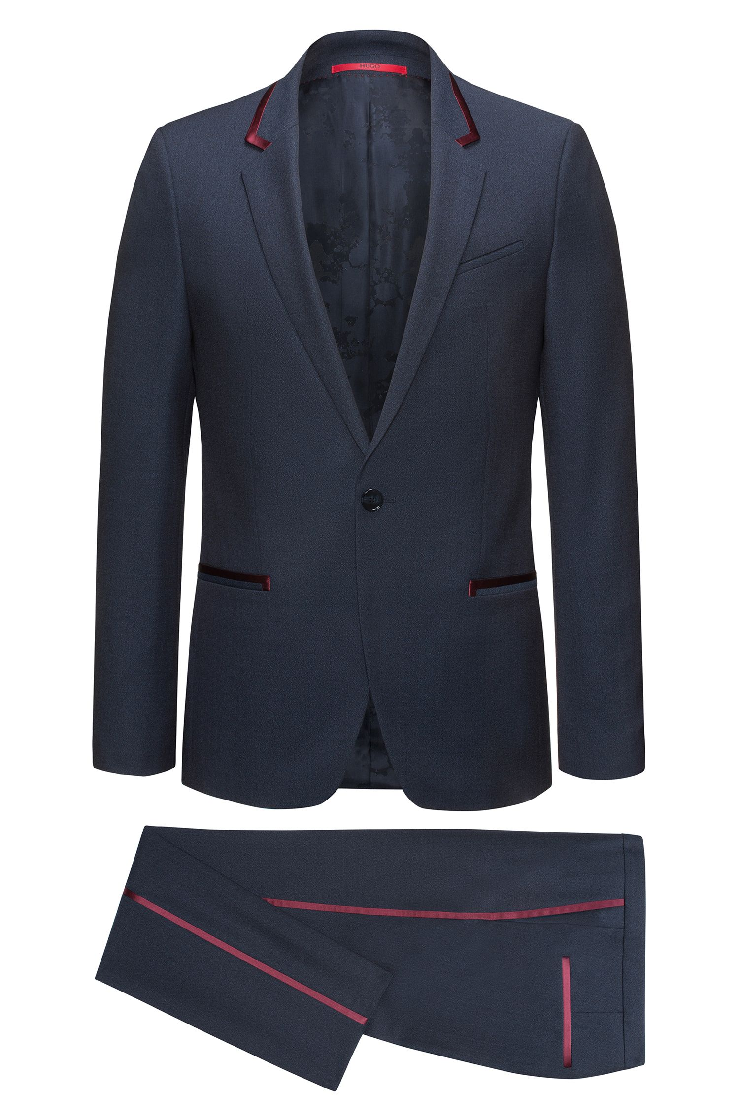 Extra-slim-fit tuxedo suit in virgin wool crepe with silk trims