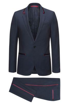 Extra-slim-fit tuxedo suit in virgin wool crepe with silk trims, Dark Blue