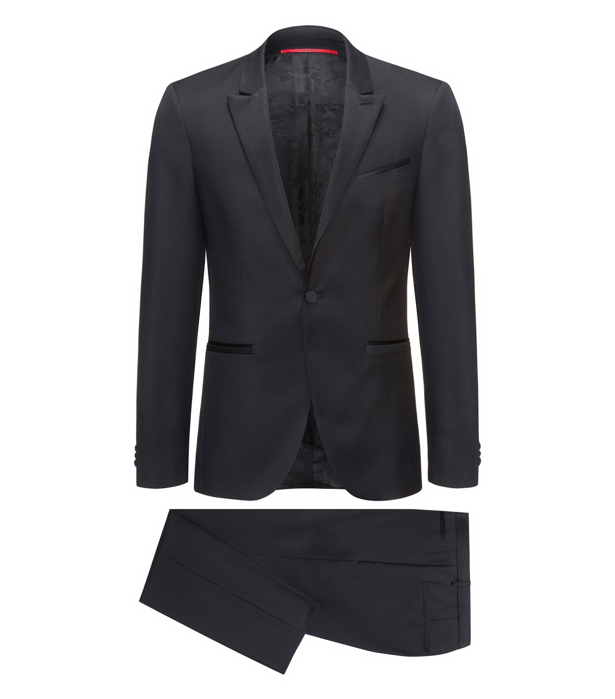Smoking Extra Slim Fit en laine vierge, Noir