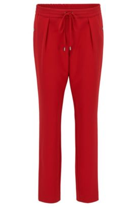 Relaxed-fit drawstring trousers with a tapered leg, Red