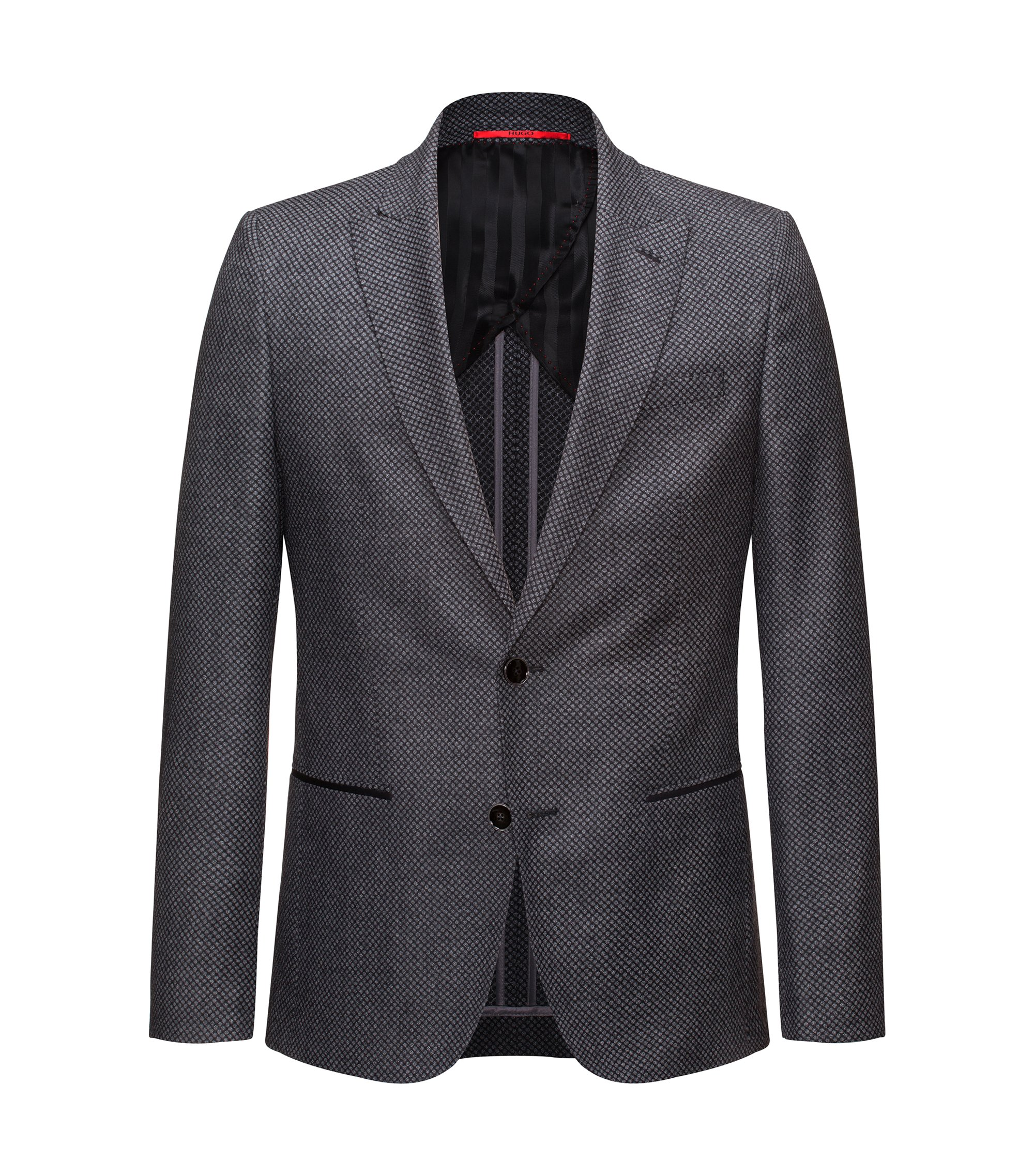 Slim-fit half-lined jacket in virgin wool, Grey