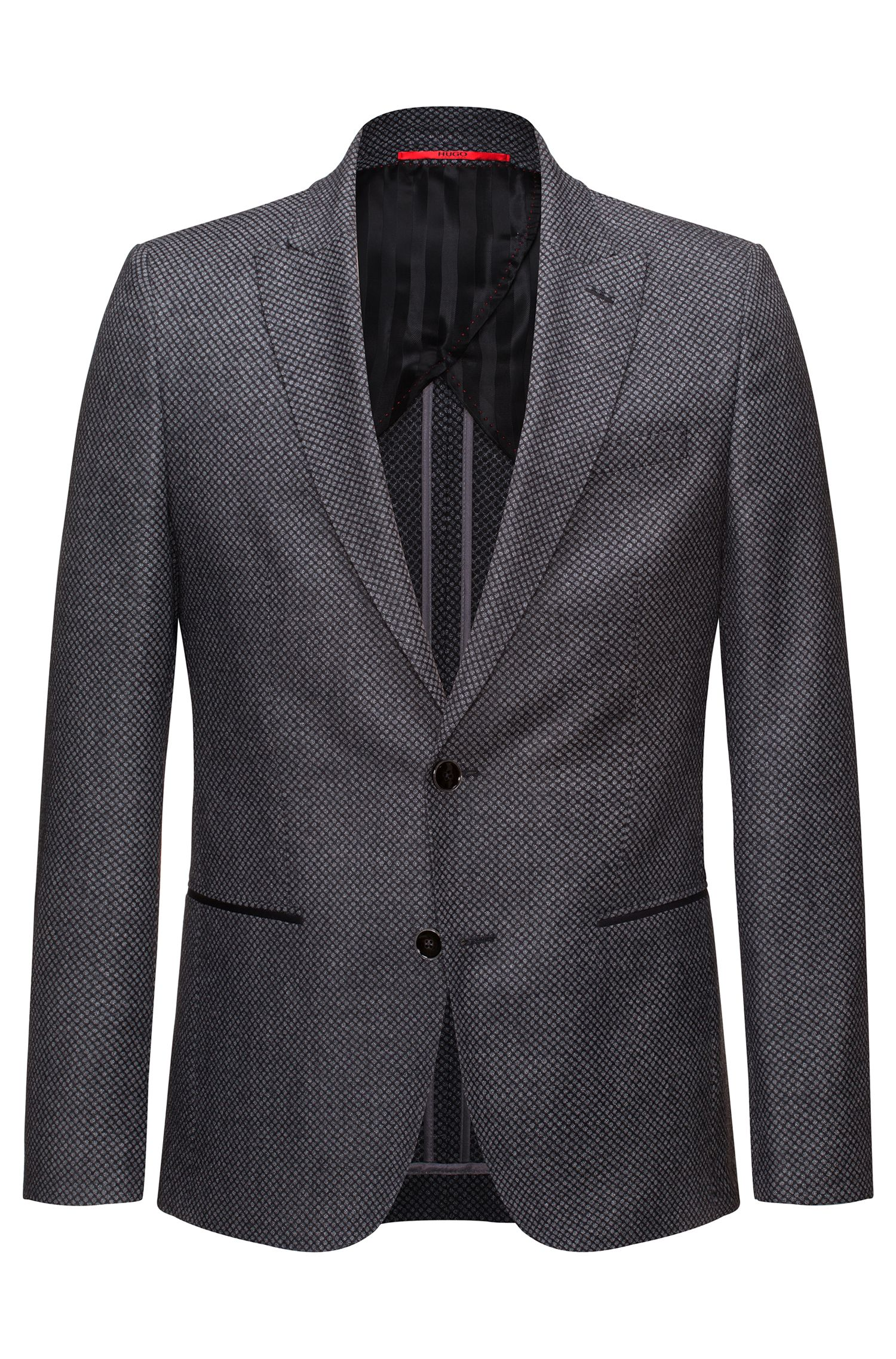Slim-fit half-lined jacket in virgin wool
