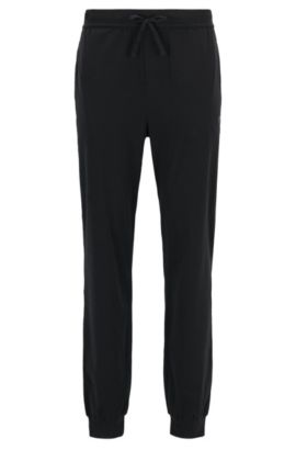 Cuffed loungewear bottoms in stretch cotton, Black