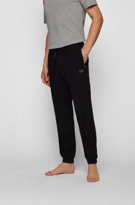 Loungewear-Hose aus Stretch-Baumwolle mit Logo, Schwarz