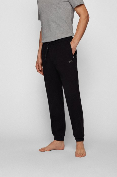 Cuffed loungewear bottoms in stretch cotton, Black