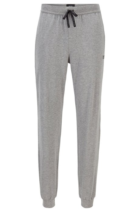 Cuffed loungewear bottoms in stretch cotton, Grey