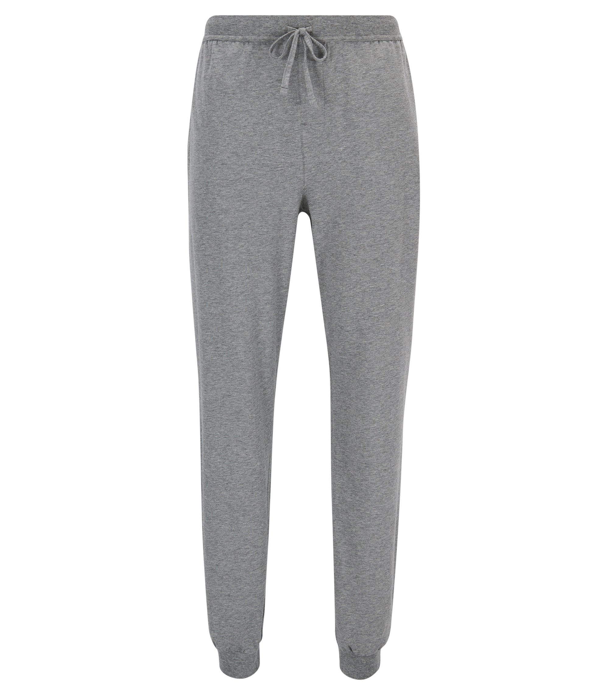 Cuffed loungewear bottoms in stretch cotton, Grey