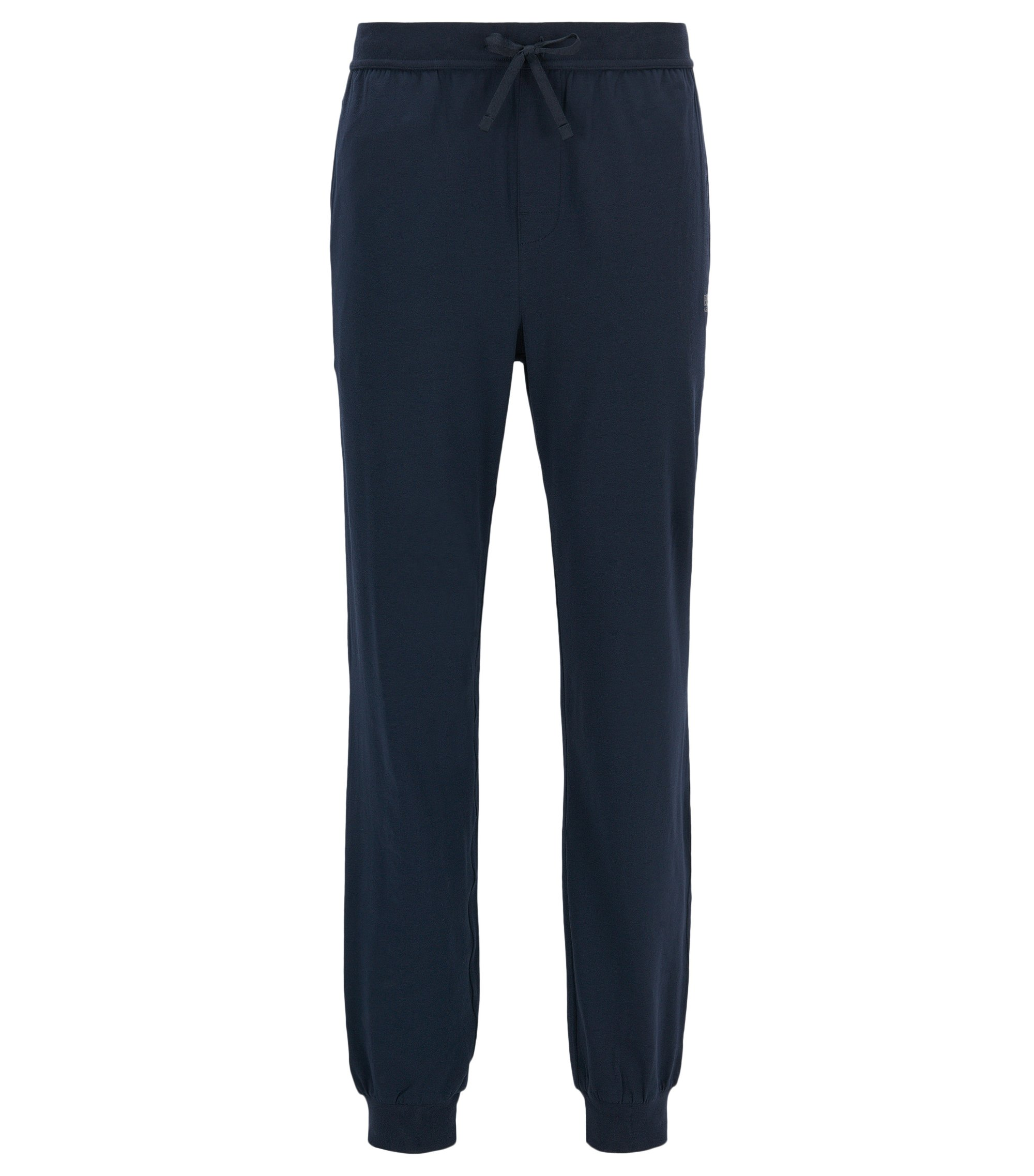 Cuffed loungewear bottoms in stretch cotton, Dark Blue