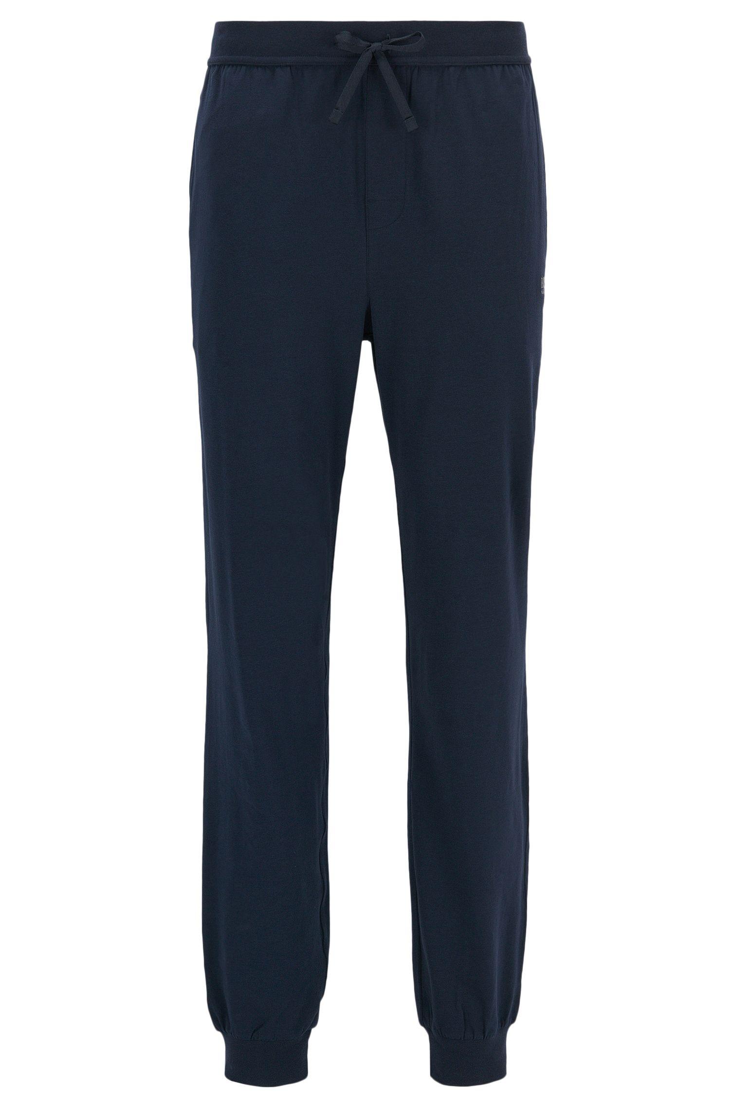 Pantalones loungewear con puños en algodón elástico, Azul oscuro