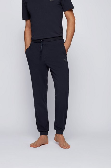 Pantaloni per il tempo libero con bordo sul fondo gamba in cotone elasticizzato, Blu scuro