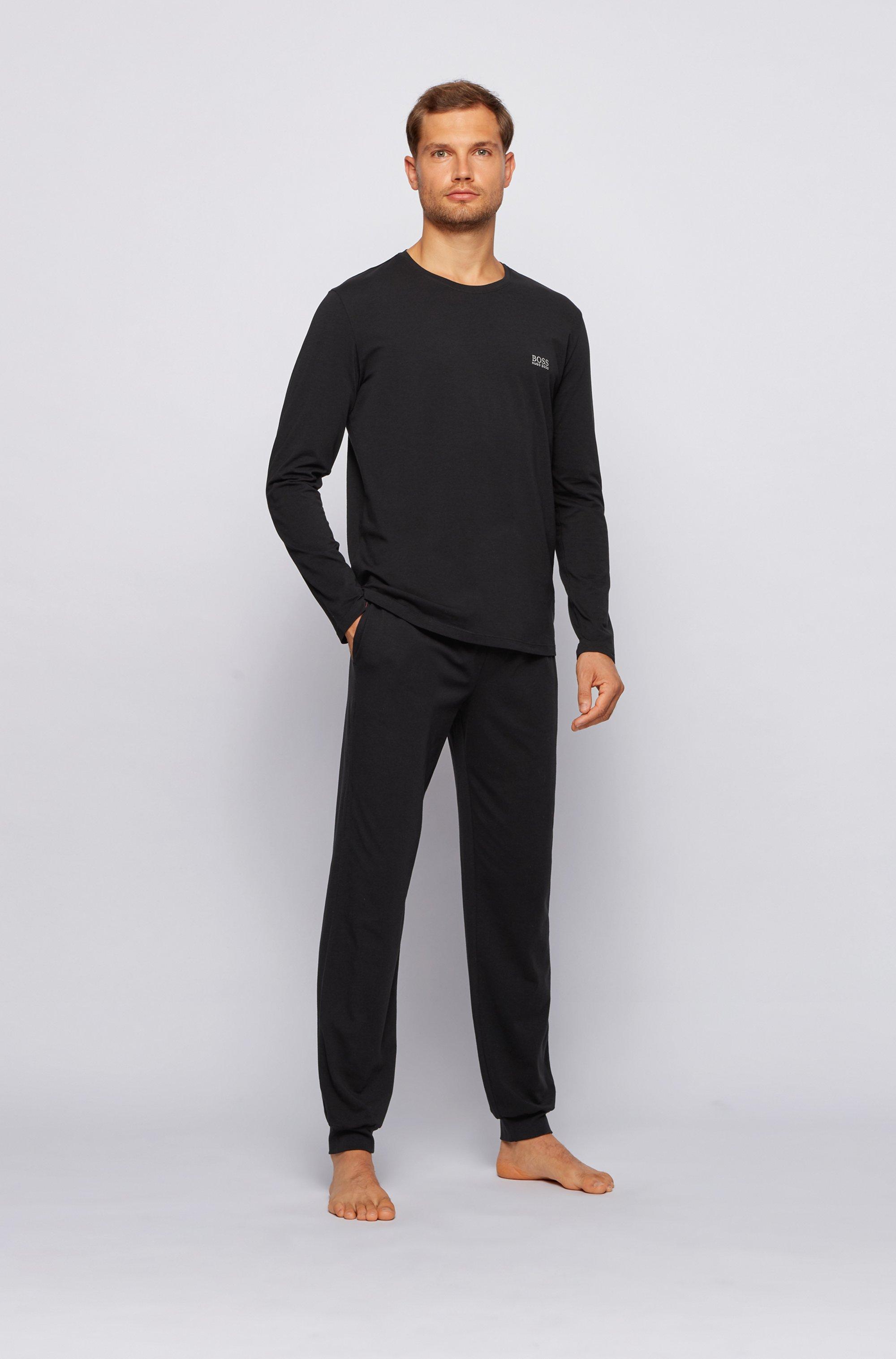 Regular-fit loungewear top in stretch cotton jersey
