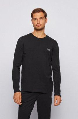 Regular-fit loungewear top in stretch cotton jersey, Black