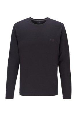Top loungewear regular fit en punto de algodón elástico, Negro