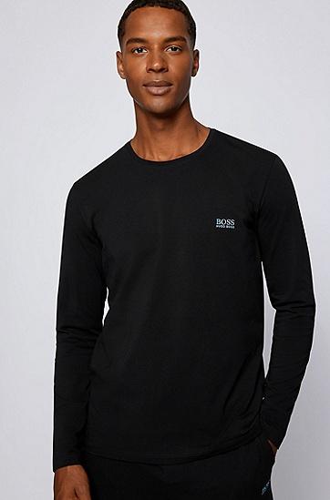 弹力棉质平纹针织长袖T恤,  011_Charcoal