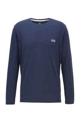 Regular-fit loungewear top in stretch cotton jersey, Dark Blue