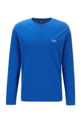 Regular-fit loungewear top in stretch cotton jersey, Blue