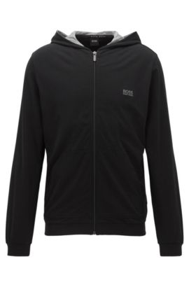 Regular-fit hooded jacket in stretch cotton, Black