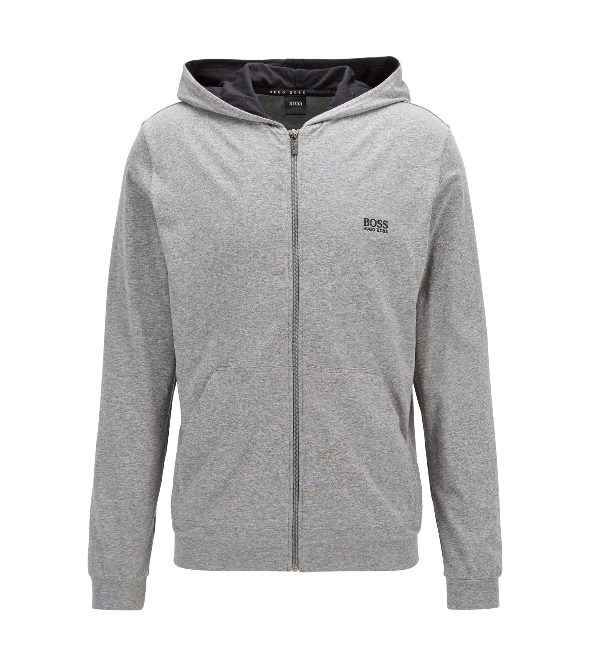 Regular-fit hooded jacket in stretch cotton, Grey