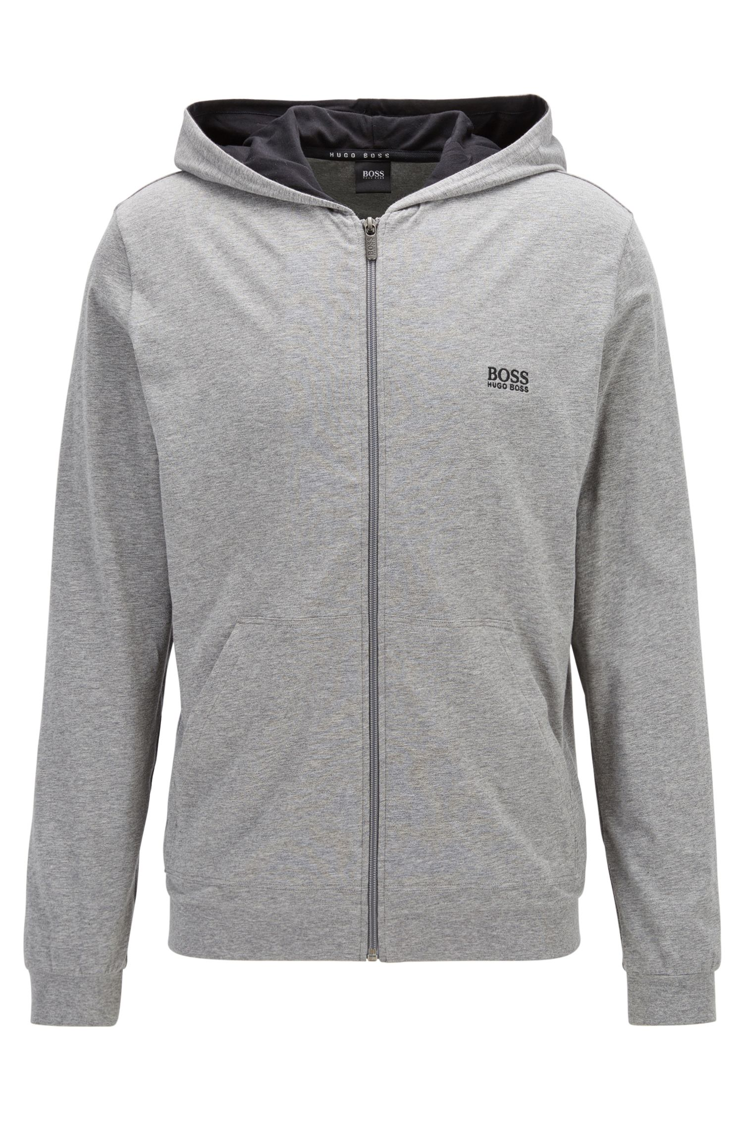 Regular-fit hooded jacket in stretch cotton