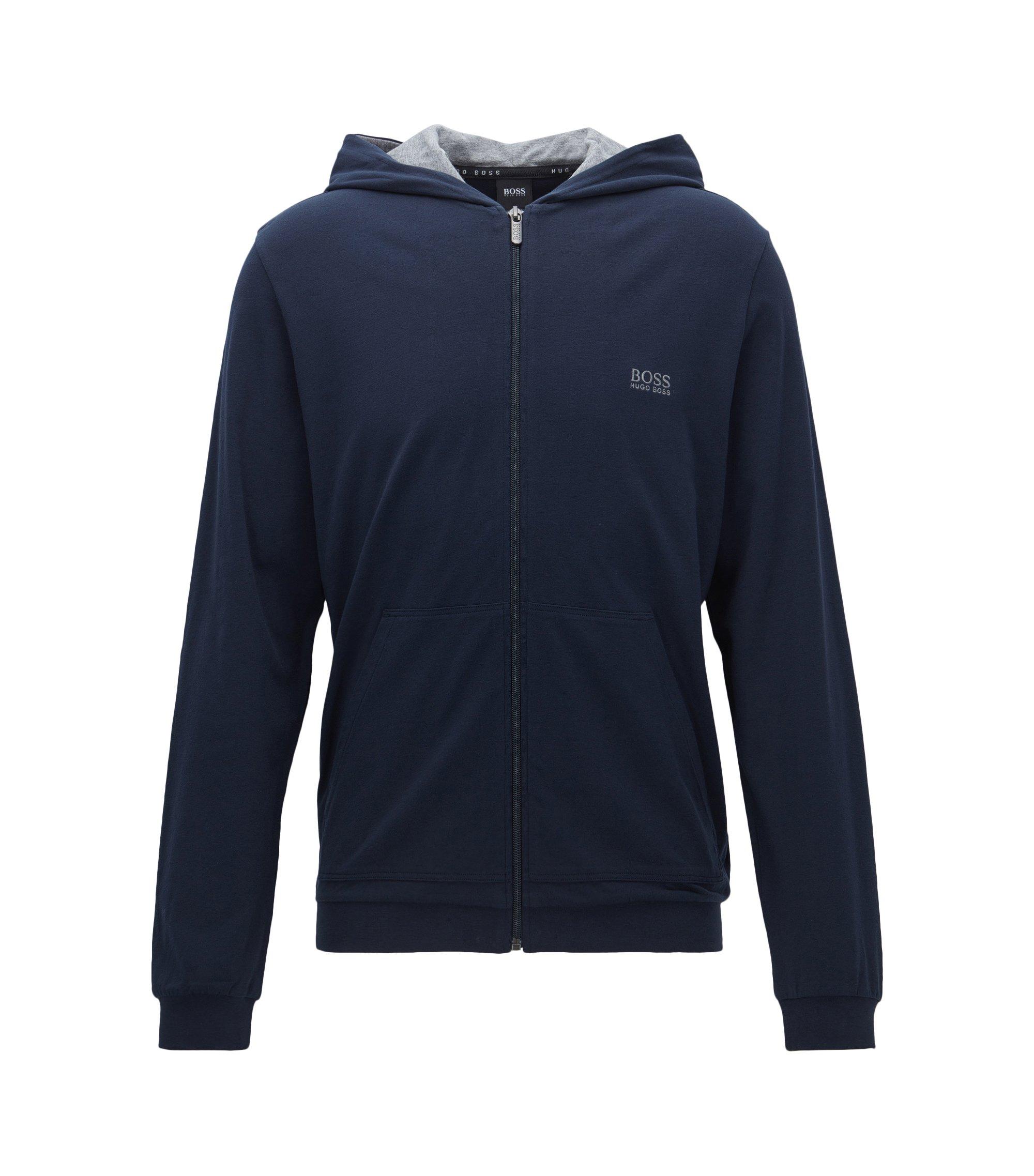 Regular-fit jas van stretchkatoen met capuchon, Donkerblauw