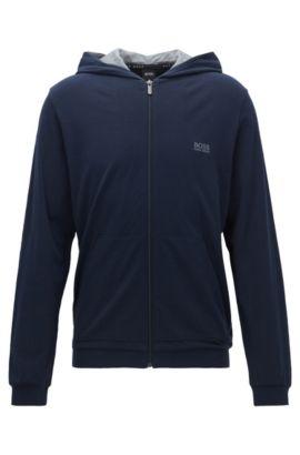 Cazadora regular fit en algodón elástico con capucha, Azul oscuro