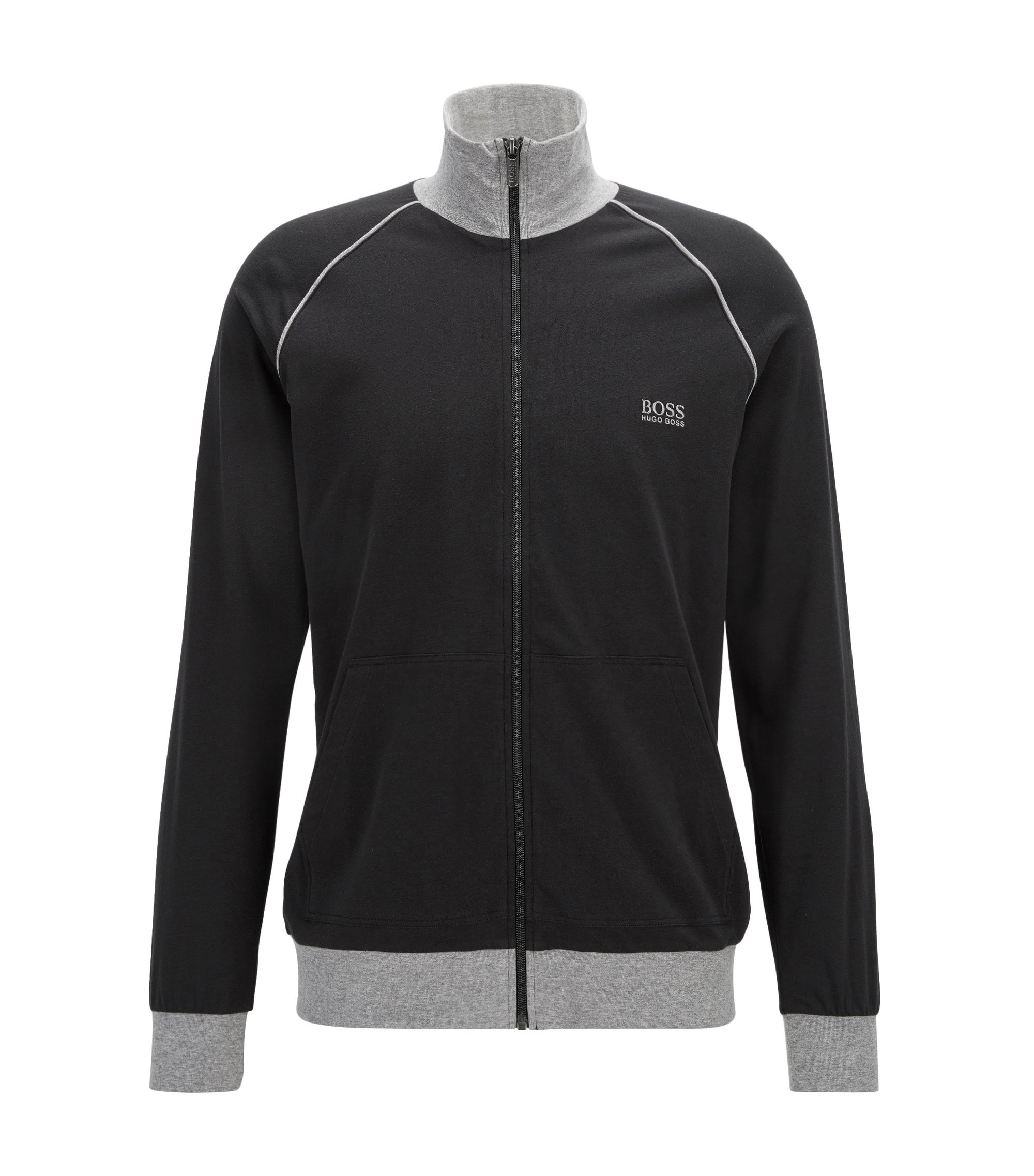 Veste d'intérieur Regular Fit en coton stretch, Noir