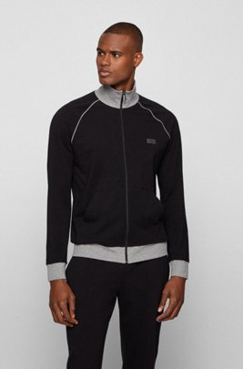 Regular-fit loungewear jacket in stretch cotton, Black