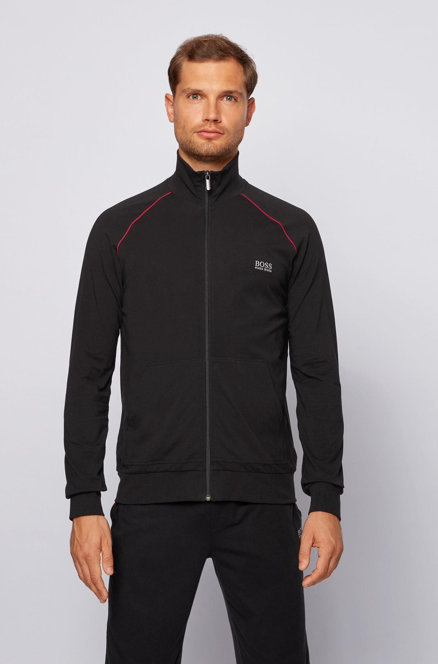 Regular-fit loungewear jacket in stretch cotton, Black
