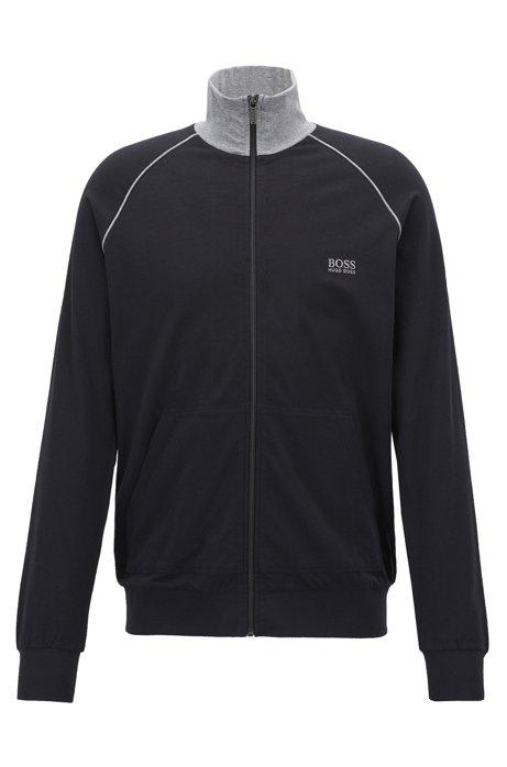 Regular-Fit Loungewear-Jacke aus elastischer Baumwolle, Schwarz