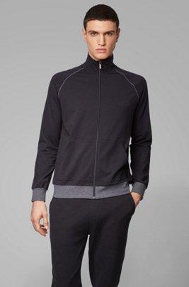 Cazadora loungewear regular fit en algodón elástico, Negro