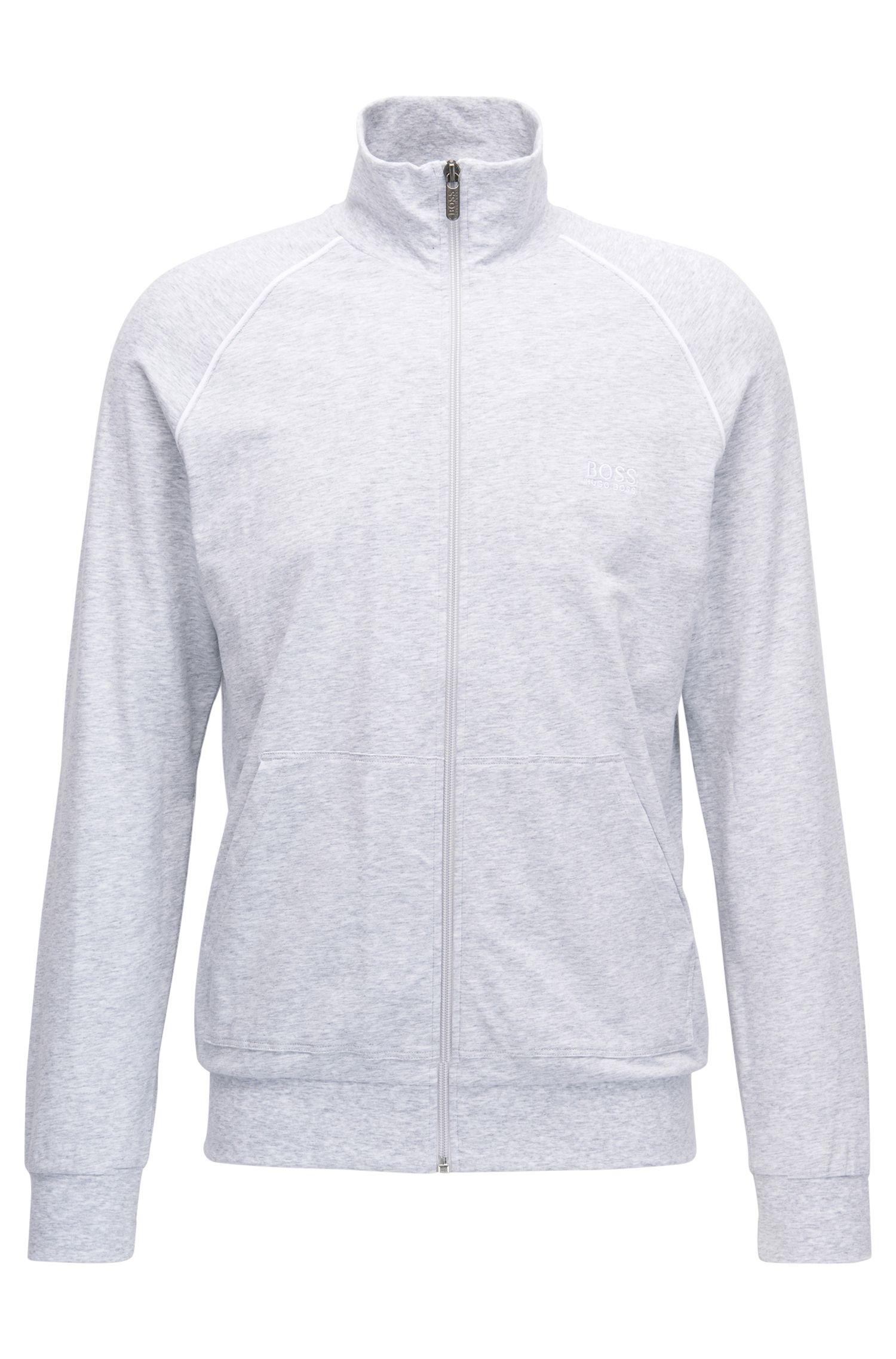 Regular-fit loungewear jacket in stretch cotton