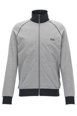 Regular-fit loungewear jacket in stretch cotton, Grey