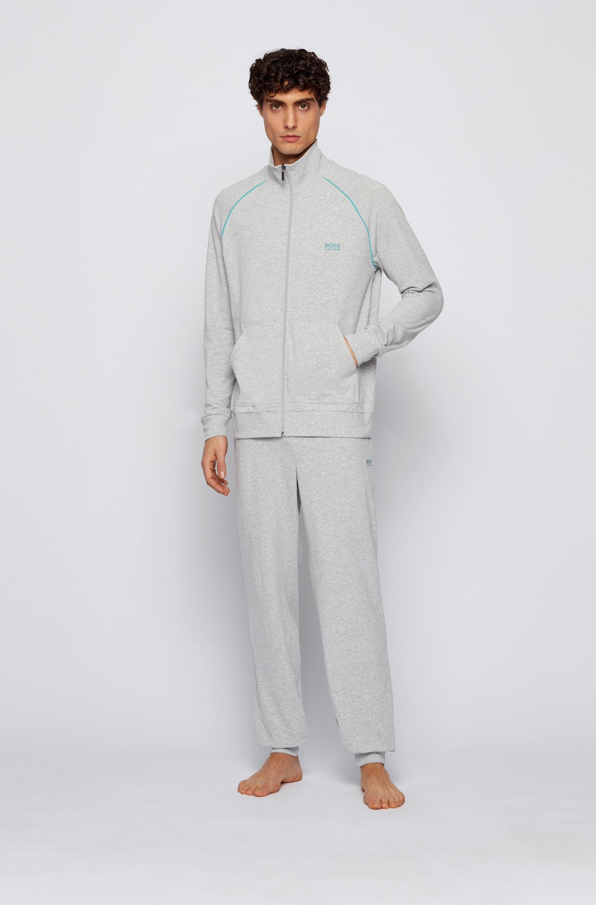 Regular-fit loungewear jacket in stretch cotton