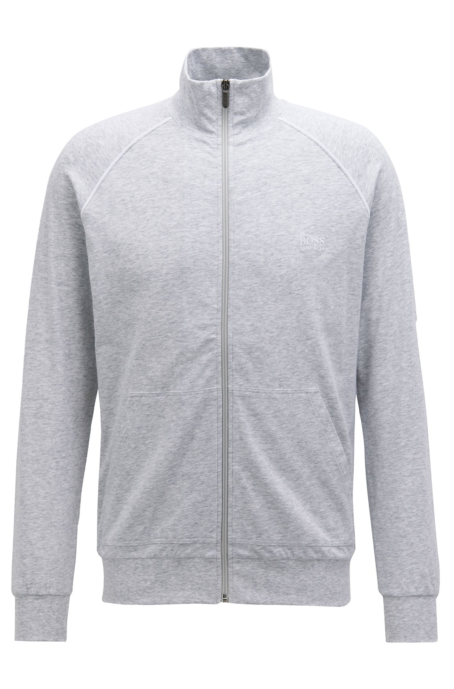 Regular-fit loungewear jacket in stretch cotton, Light Grey