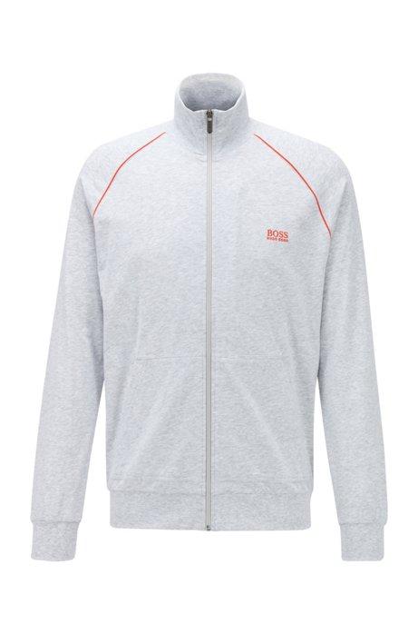 Regular-Fit Loungewear-Jacke aus elastischer Baumwolle, Hellgrau