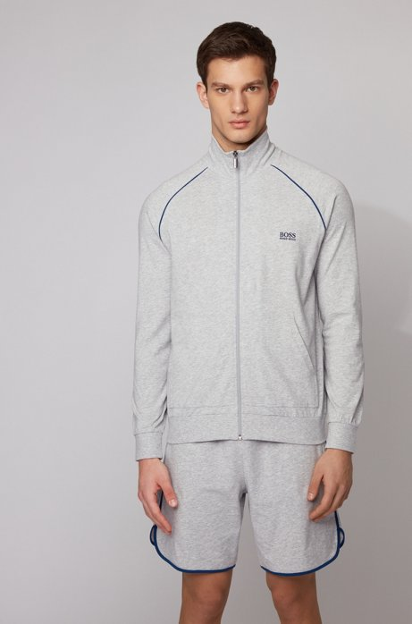 Regular-fit loungewear jacket in stretch cotton, Light Grey