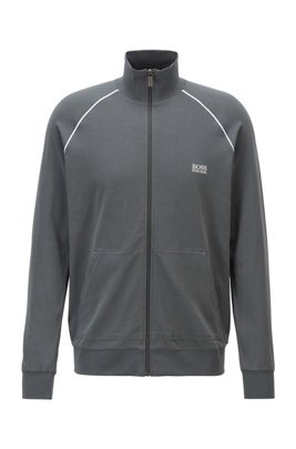 Regular-fit loungewear jacket in stretch cotton, Dark Grey