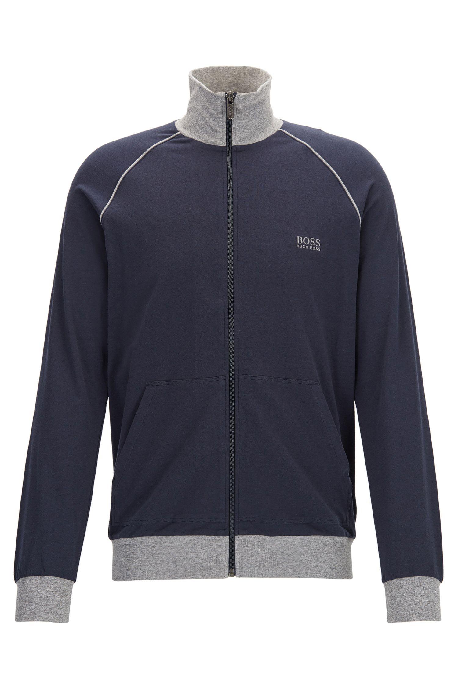 Regular-Fit Loungewear-Jacke aus elastischer Baumwolle