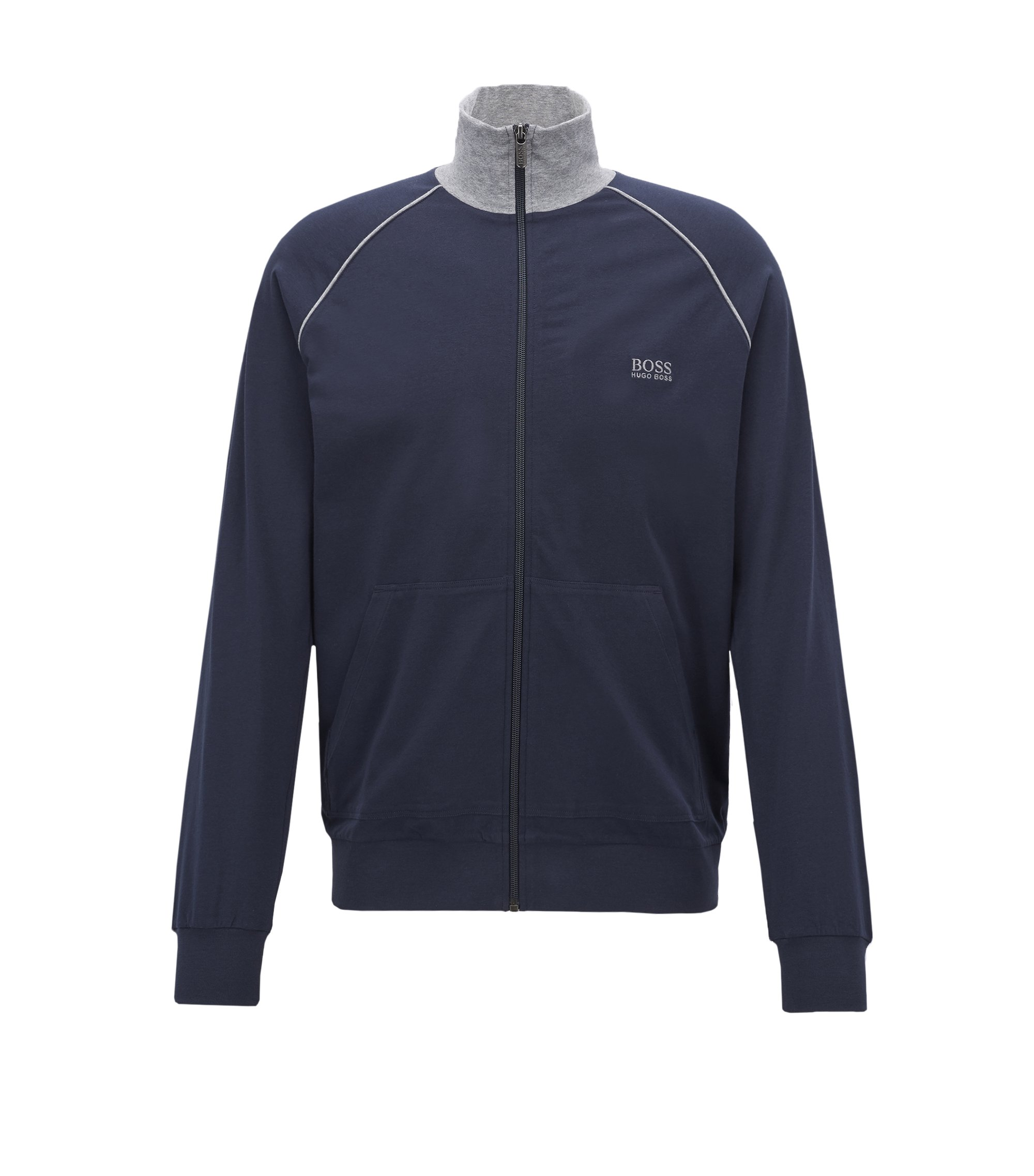 Regular-fit loungewear jacket in stretch cotton, Dark Blue