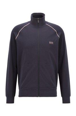 Regular-Fit Loungewear-Jacke aus elastischer Baumwolle, Dunkelblau