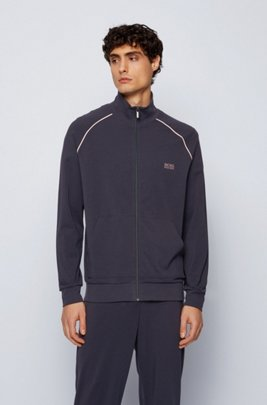 Regular-fit loungewear jacket in stretch cotton, Dark Blue