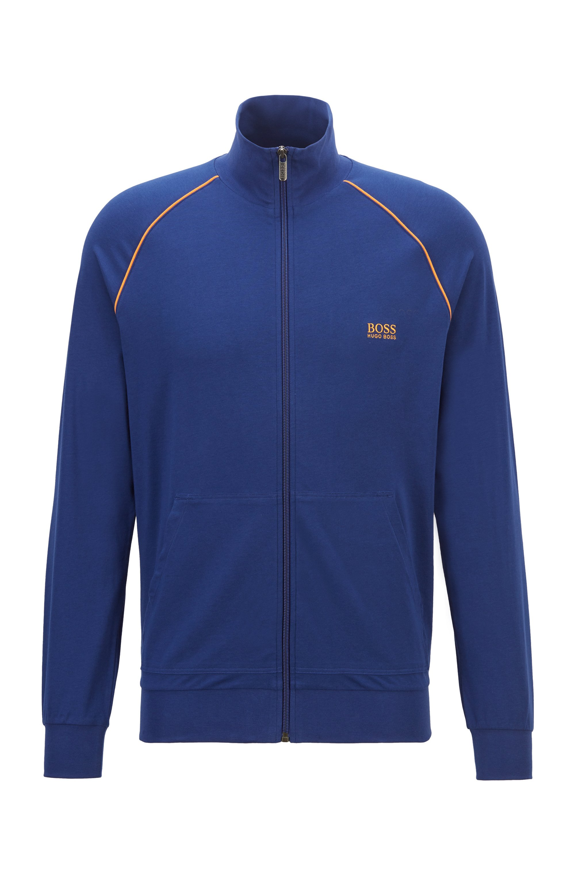 Regular-fit loungewear jacket in stretch cotton, Blue