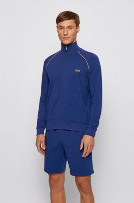 Regular-fit loungewear jacket in stretch cotton, Blue