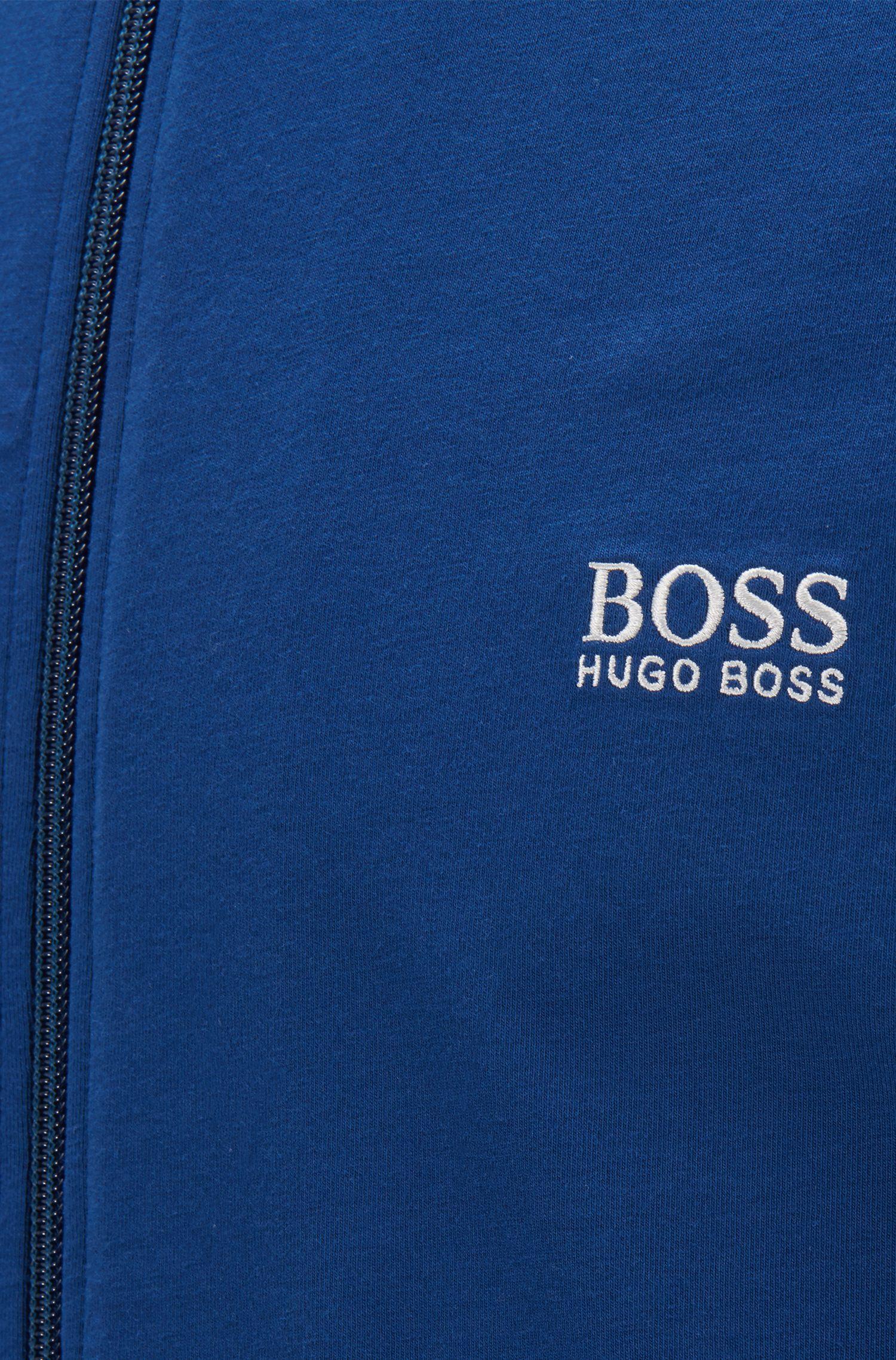 Regular-Fit Loungewear-Jacke aus elastischer Baumwolle, Blau
