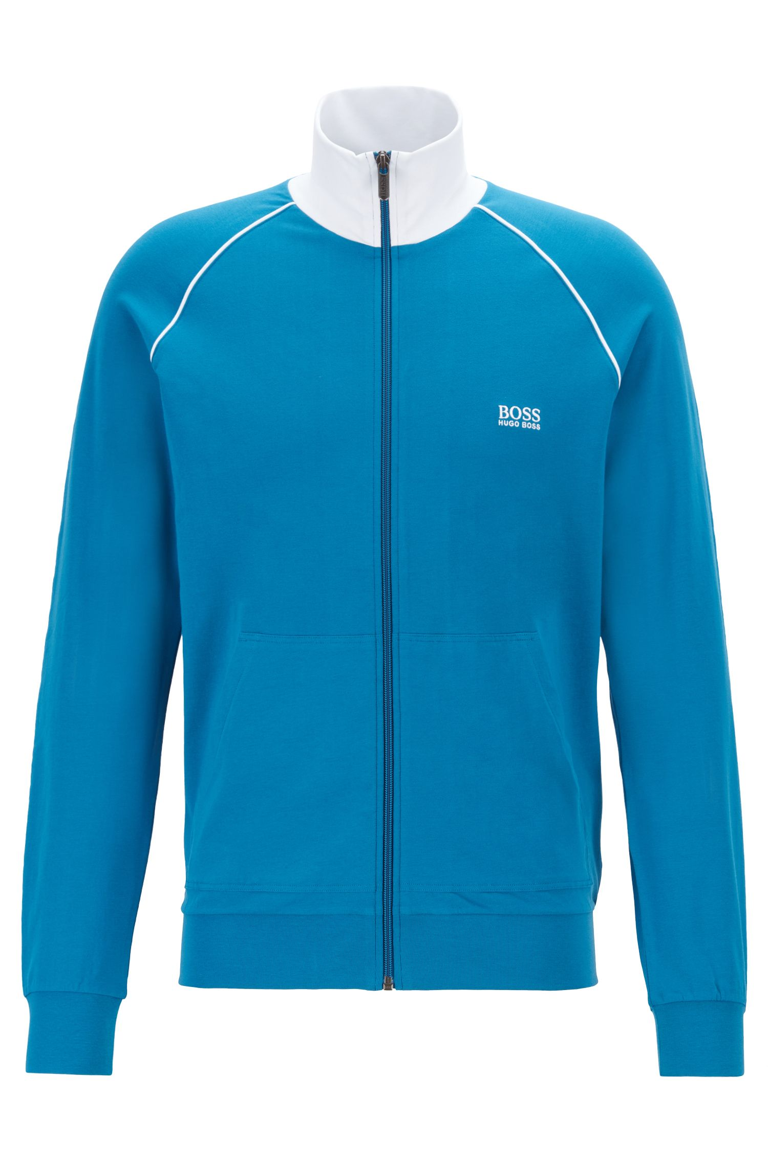 Regular-fit loungewear jacket in stretch cotton, Turquoise