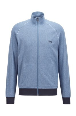 Regular-fit loungewear jacket in stretch cotton, Light Blue