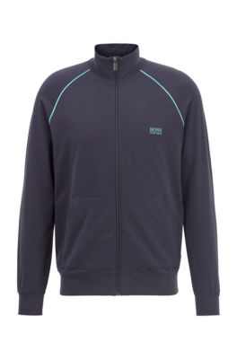 Regular-fit loungewear jacket in stretch cotton, Light Blue