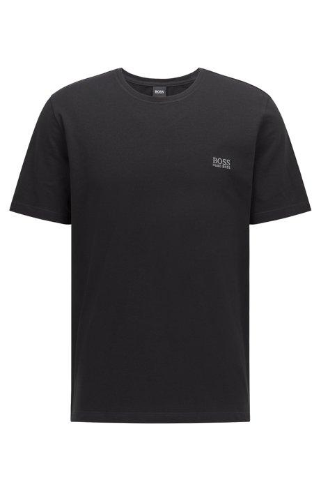 T-shirt d'intérieur en coton stretch, avec logo brodé, Noir